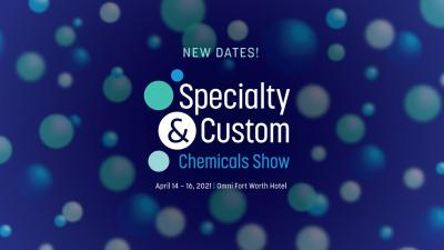 Blue background with bouncing molecules for specialty and custom chemicals show